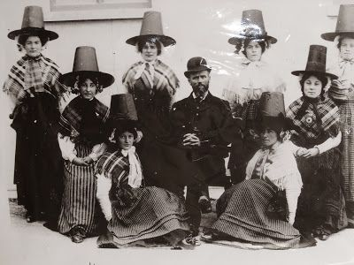 Welsh ladies in the Welsh hats which all women wore in Victorian times and earlier. These were definitely in their Sunday Best, with plaid shawls (Welsh wool of course).
