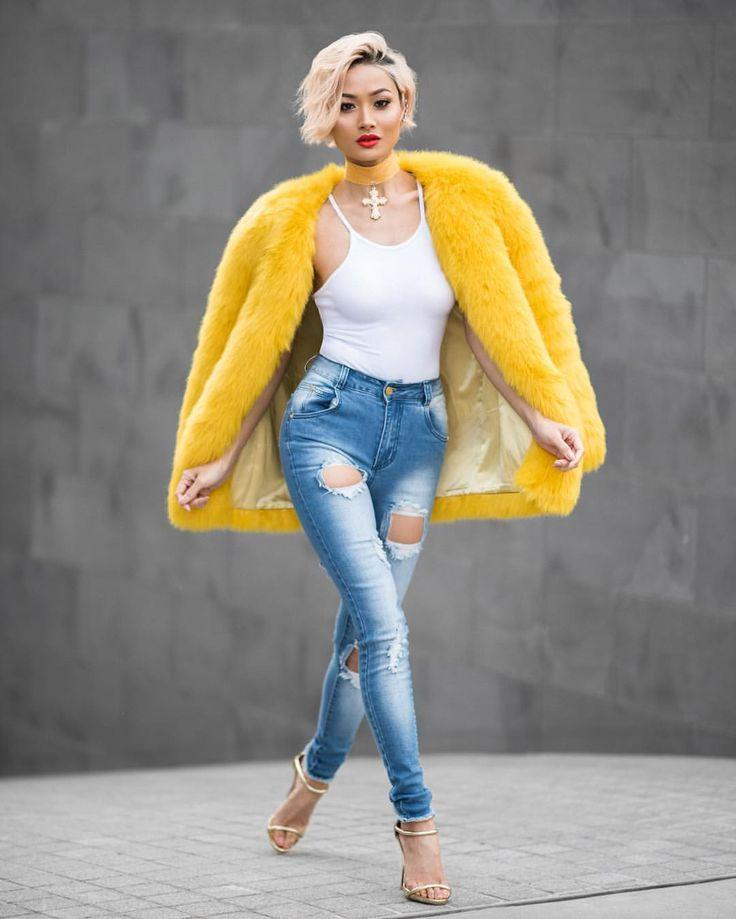 """micahgianneli: """" Hello yellow ✨✨ Faux fur coat @thpshop.co // Jeans…"""