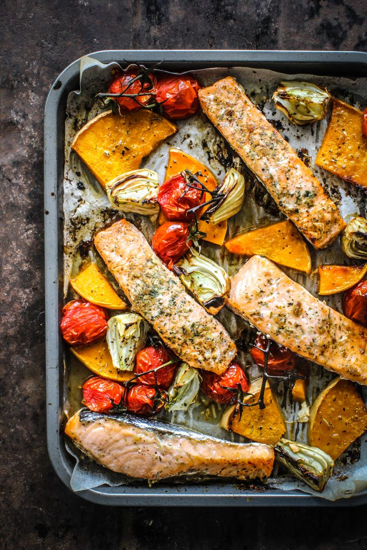Roasted Maple Salmon with fennel, pumpkin, and tomatoes