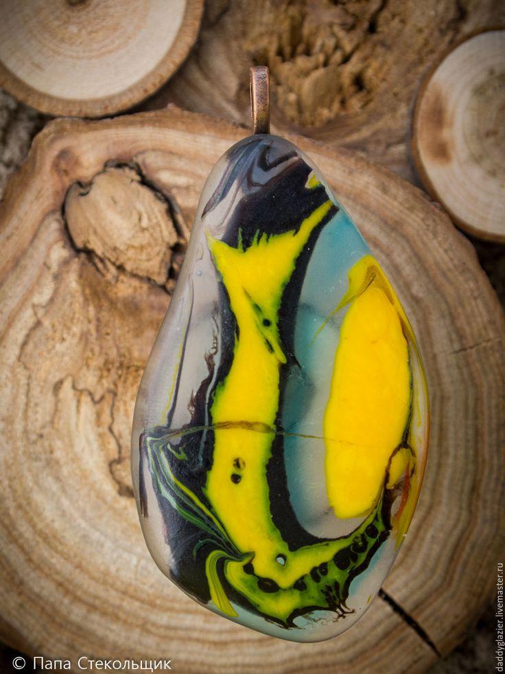"""Купить Кулон """"Хитрый лис"""" , стекло - комбинированный, Кулон ручной работы, кулон из стекла, Фьюзинг"""