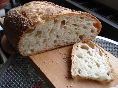 I love Maggie Glezer's book Artisan Bread and have made many recipes from it but it wasn't until I saw the photos and posting of the Tom Cat's Semolina Filone on the October 16, 2007 posting in www.breabasketcase.blogspot.com that I just had to try it. I've made it twice and will be making it again