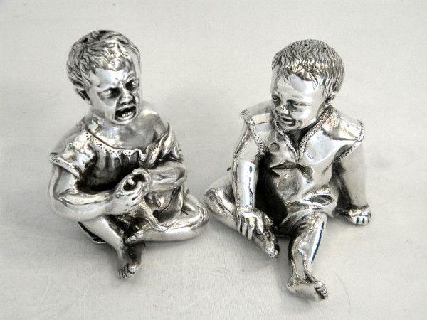 PAIR RARE VICTORIAN SILVER SALT & PEPPER SHAKERS LONDON 1886 CHILDREN John Bull Antiques www.antique-silver.co.uk Silver Dealer London, UK