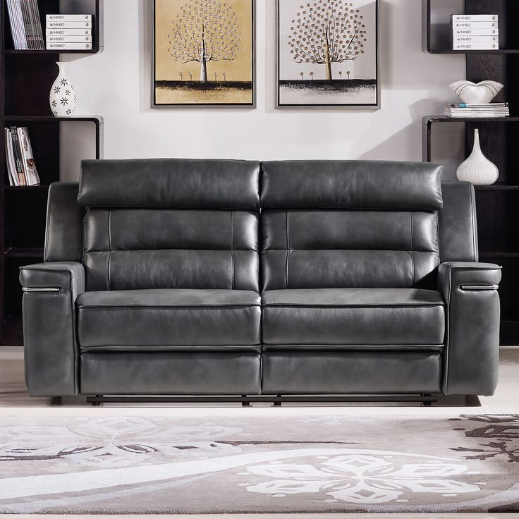 Features:  -Finished in slate grey air leather.  -L&P mechanism.  -Waterfall back design with headrest.  -Dual reclining - manual function.  -Duncan collection.  Design: -Reclining.  Upholstery Color:
