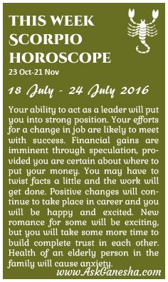 This Week Scorpio Horoscope (18th of July 2016 - 24th of July 2016). Askganesha.com