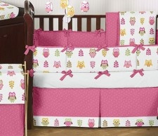 Baby Girl Nursery Bedding that stands apart!  The Happy Pink Owl Baby Bedding by Sweet Jojo Designs is what your owl themed nursery needs and this great 9 piece set is only $179.99 + Free Shipping.  Quality Pink Baby Bedding - everything you need.