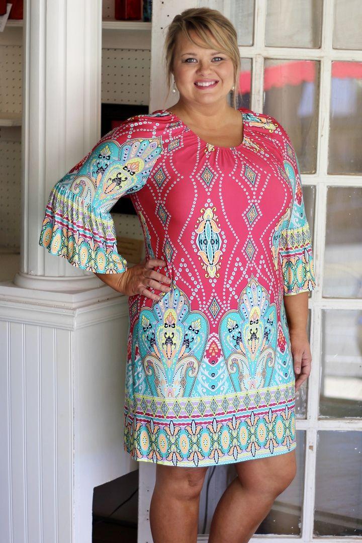 One Faith Boutique - Elegant Border Print Dress ~ Fuchsia ~ Sizes 12-18, $39.00…
