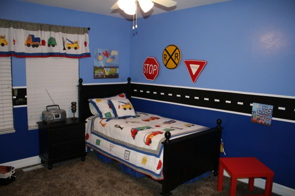 Boys Blue Car/Transportation Room (repost), This is my two year old sons car room.  It has been so much fun.  It was posted before but the pictures were really bad quality so I am trying again.  Please provide feedback, I would be very interested in thoughts & ideas., Boys Rooms Design