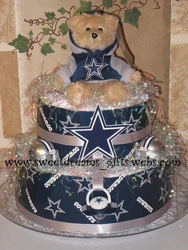 """""""Dallas Cowboy Fan"""" 2Tier Diaper Cake with an Official Dallas Cowboy plush. Visit us at www.sweetdreams_gifts.webs.com"""