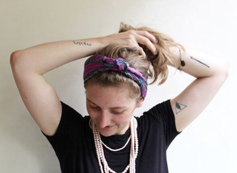 """We're up to #5 in our roundup of """"ways to style your silk scarf""""! #5. This cutie summer headband will keep your hair out of your face, and won't give you a headache. Wrap from underneath hair, tie in a french knot on top of head, wrap ends back towards your neck, and tuck the ends in. Throw your hair up in a pony, or leave it down.  Enter in our FREE GIVEAWAY (deets in previous post) where you can win a #summersilk scarf for yourself! Contest ends Friday, July 15, so hurry…"""
