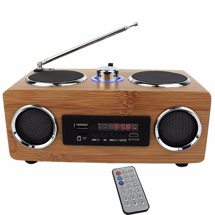 100% Original Handmade Bamboo Portable Speaker Hi-Fi Bamboo Wood Boombox TF/USB Card Stereo Speaker FM Radio with Remote Control