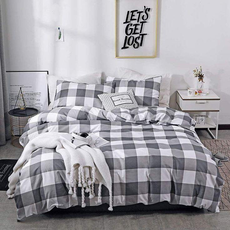 Couturebridal grey buffalo check gingham bedding sets
