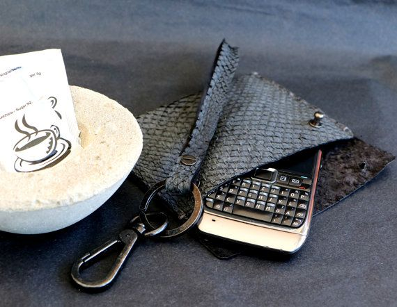 Hand stitched salmon fish leather wallet for your by BerlinGlam