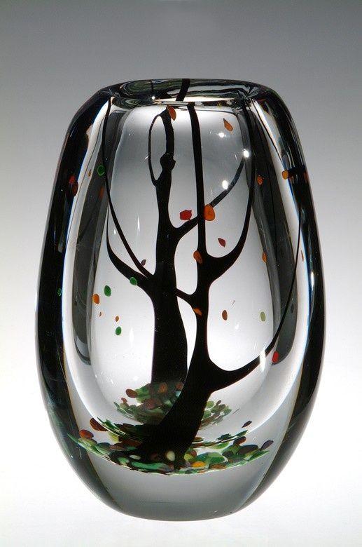 "Vicke Lindstrand (Swedish, 1904-1983), Kosta, ""Autumn"" Glass Vase."
