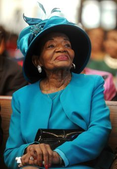 Christine King Farris - eldest & only living sibling of the late Rev. Martin Luther King, Jr. watching as Pres. Obama takes the oath of office using her brother's Bible. She is a professor at Spelman College, the author of several books, and is a public speaker.