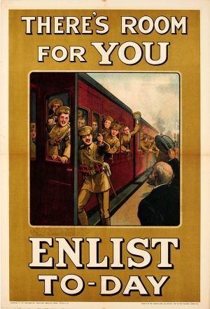 Room For You Enlist WWI UK, 1915 - original antique World War One recruitment poster by William Arthur Fry listed on AntikBar.co.uk