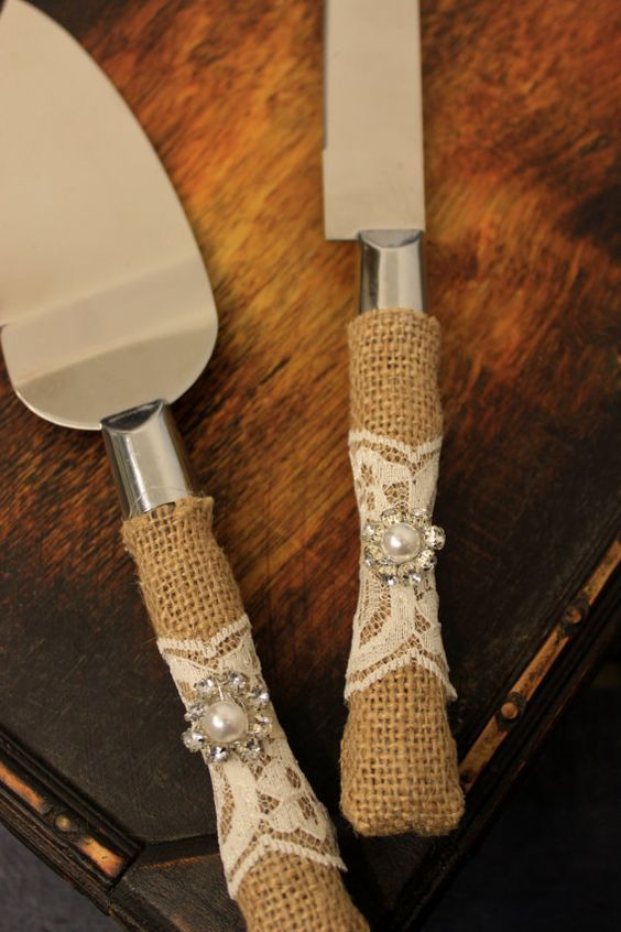 Wedding Cake Server and Knife Burlap and Lace by BrilliantBride Western Wedding Cake Cutter: