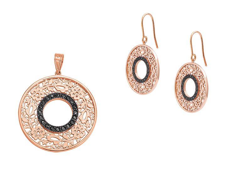 gold rose earrings 14K