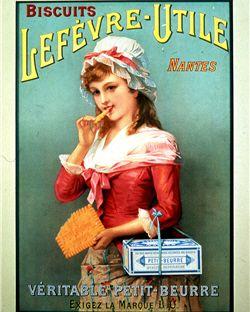 """exigez la marque LU"""", une signature incontournable des anciennes affiches publicitaires du véritable petit beurre   Photo © Lu France"""