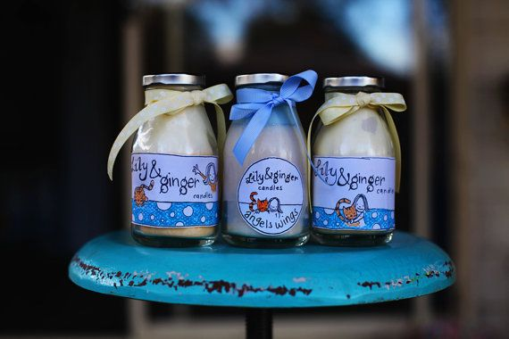 Milk bottles. Cute soy candles in old by LilyandGingerCandles