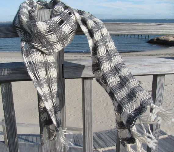 Alpaca Scarf Handwoven Gray & White Lattice Weave by aclhandweaver, $185.00
