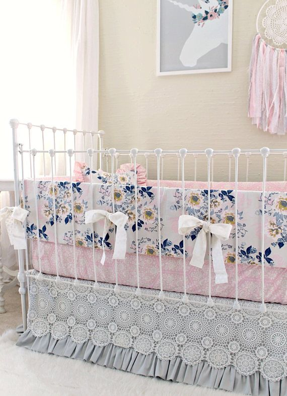 Pink Gray and Navy Crib Bedding Set for Custom Baby Girl