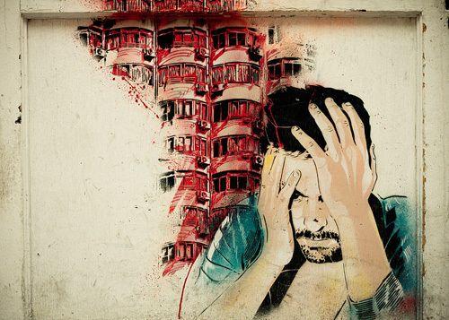 Man Head in Hands Graffiti Art Print by Keri Bevan at King & McGaw