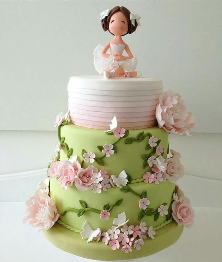It's a ballerina cake but changing the topper would be a beautiful first communion cake