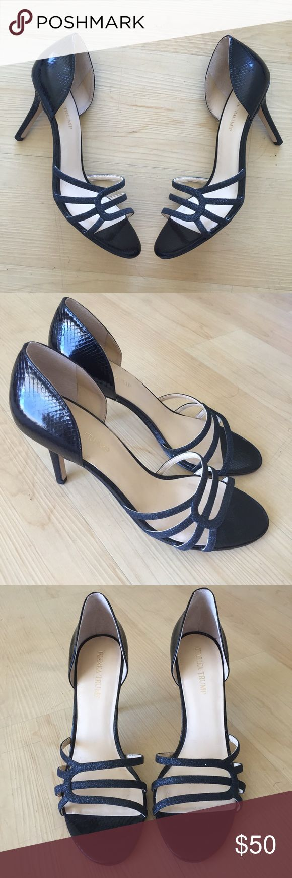 Ivanka Trump d'orsay black heels strappy sz 10 Brand new with out box. Display shoes so they do have Very slight scuffs on the bottom. Ivanka Trump black d'orsay heels size 10. Heel height ~3.75inches. Ivanka Trump Shoes Heels