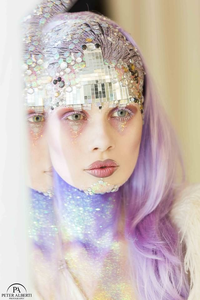 Blizzard Disco Make-up Look by Karla Powell Demonstration at Illamasqua-Beak Street. Using Gems, Glitter. Lilac Hair   Makeup & Hair: Karla Powell Model:Michaela Ireland Photographer: Peter Alberti Wig: Annabelles Wigs Dress: Joanne Fleming