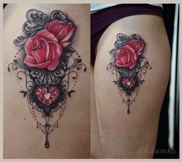 Lace tattoo, artist~ k.dumka #rose #roses #tattoo #tattoos #lace #drawing