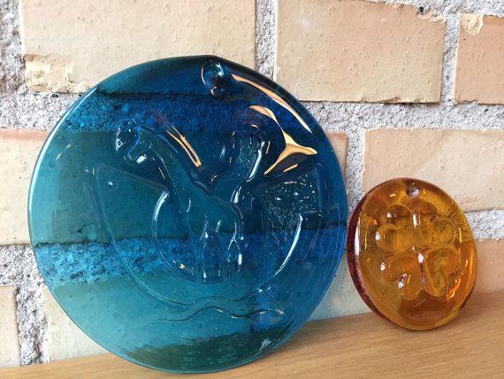 2 #Suncatchers Kastrup / #Holmegaard glass works, #1960s #MidMod #SpaceAge #Michael #Bang #blue #glass #Yellow #glass QuirkySundays