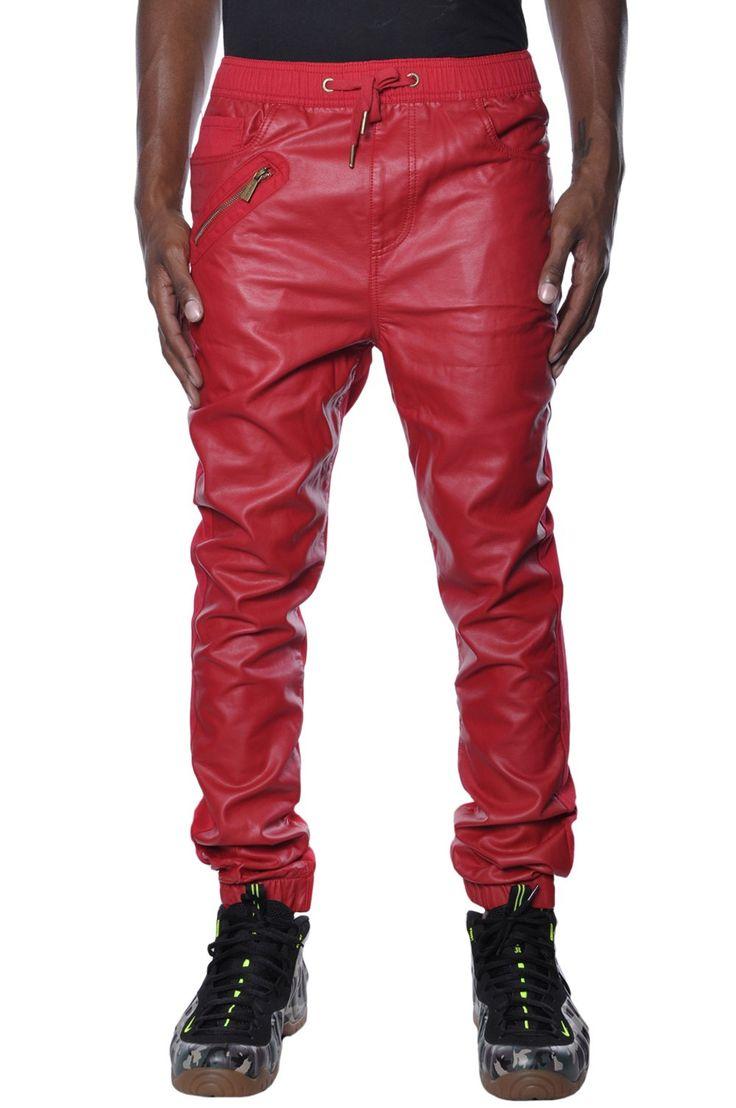 Harem NYC Fashion Dance Refuel Faux Leather PU Joggers 32x32