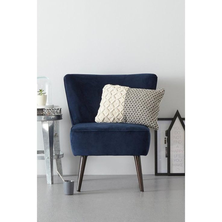 whkmp's own fauteuil Rocco velours, Donkerblauw