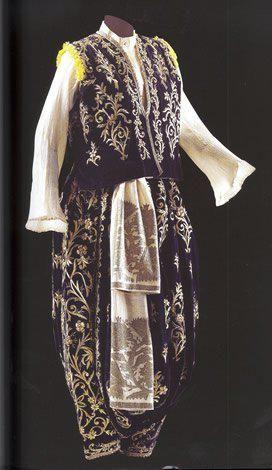 Traditional bridal (and later-on festive) costume, from the Marmara region (Bursa and west of it). Late Ottoman, end of 19th - early 20th century.  Sadberk Hanim Museum.Şalvar and Yelek, late 19th century, Sadberk Hanim Museum