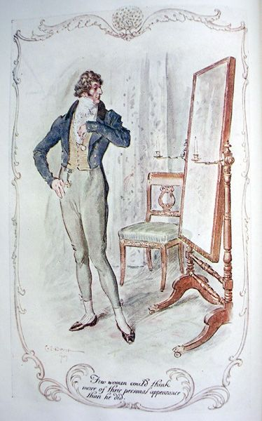 Persuasion (last Jane Austen Novel) ch 1: Sir Elliot before a cheval-glass. Few women could think more of their personal appearance than he did.