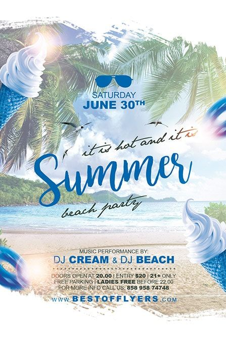 summer party free poster and flyer template ideas flyer template