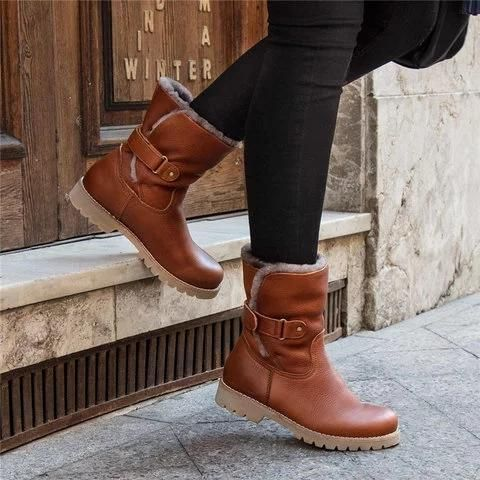 Details about  /Winter Womens Ankle Snow Boots Fur-Lined Slip On Warm Booties Lace Up Shoes Size