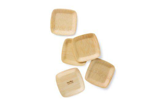 Bambu 063800 para toda ocasión sabor Veneerware placas cuadradas (paquete de…