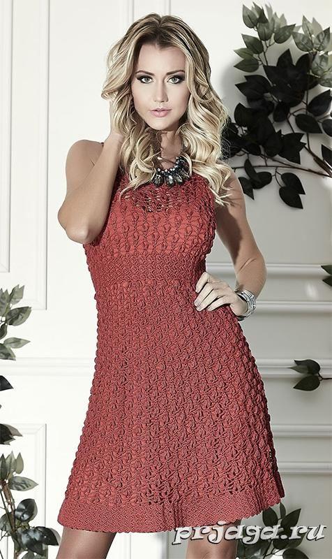 Великолепное красное платье крючком