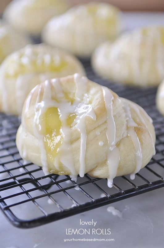 These lovely lemon rolls would be perfect for Easter brunch or dinner. Filled with and drizzled with lemon goodness.