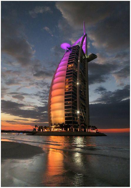 Night lights at Burj Al Arab Hotel in Dubai, United Arab Emirates (by Chris Hopkins).
