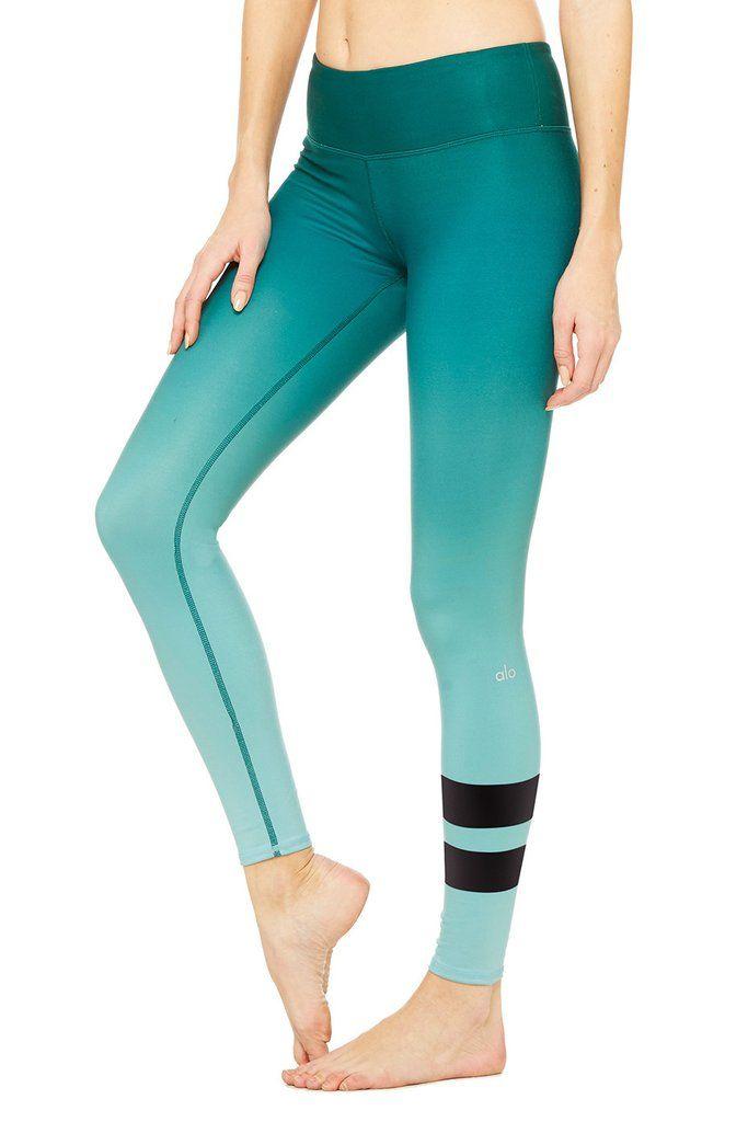 Alo Yoga Airbrush Legging - Gradient Evermint - YOGA REBEL