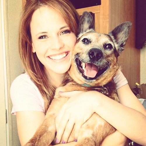 Katie Leclerc and her dog being adorable together.