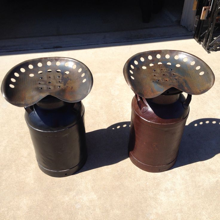DIY Stool Made From Old Milk Can And A Steel Tractor Seat. Cleaned Them Up