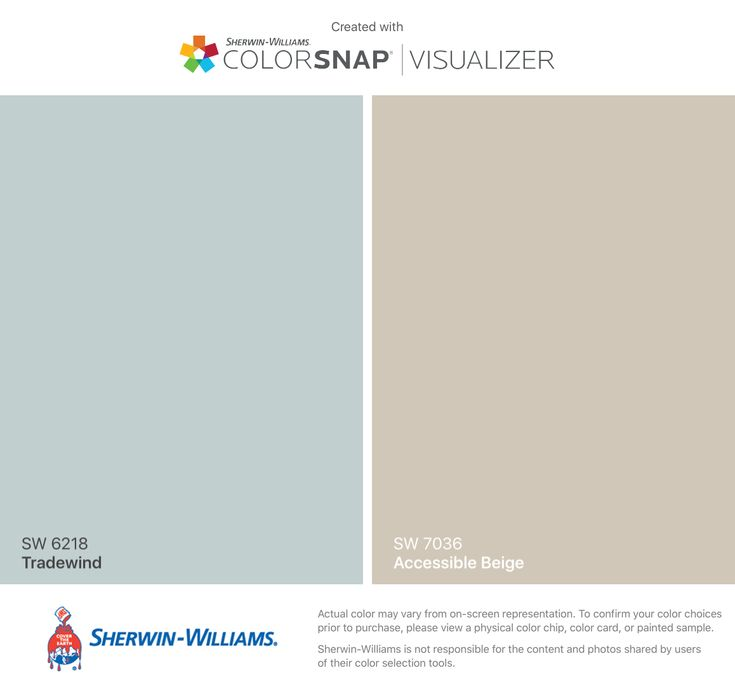 I found these colors with ColorSnap® Visualizer for iPhone by Sherwin-Williams: Tradewind (SW 6218), Accessible Beige (SW 7036).