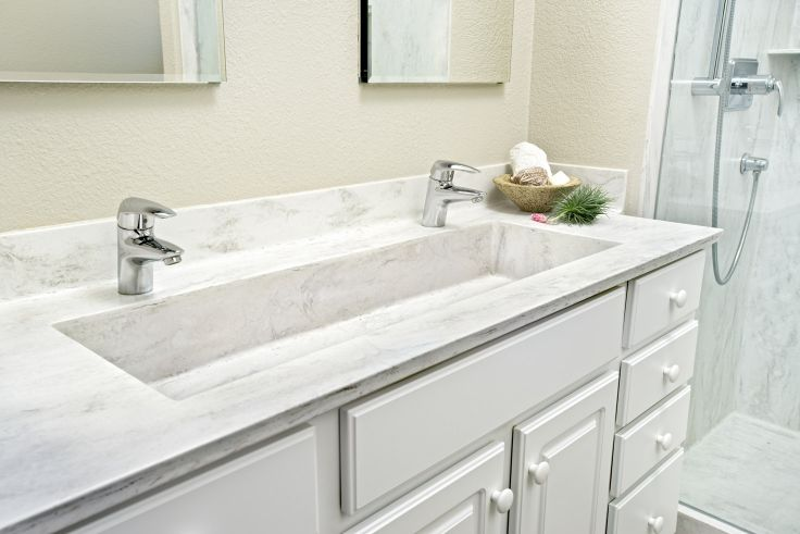 Dbi corian raincloud custom sink by hallmark building for Corian farm sink price