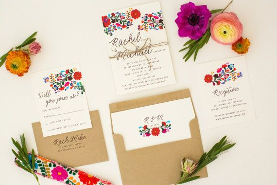 About the Rachel Suite .................................... This eclectic Mexican inspired invitation suite features a colorful take on traditional