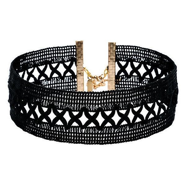 Vanessa Mooney Only Kisses Black Lace Choker Necklace (64 TND) ❤ liked on Polyvore featuring jewelry, necklaces, black, vanessa mooney necklace, initial necklaces, choker jewelry, initial jewelry and letter jewelry