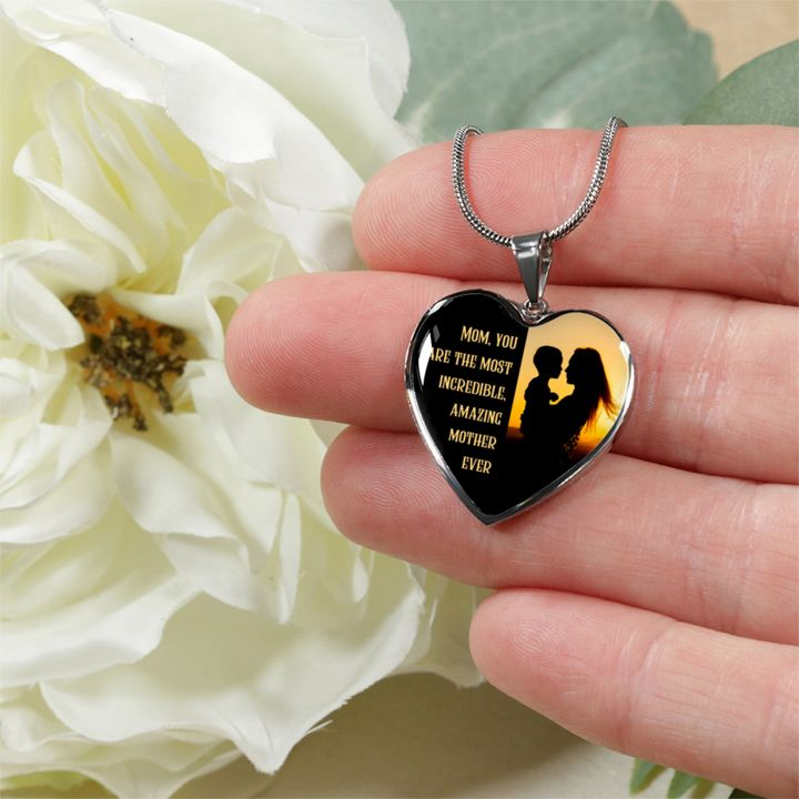Best Mother's Day Gift Most Amazing Mother Ever Heart Pendant For Mom Mother-in-Law