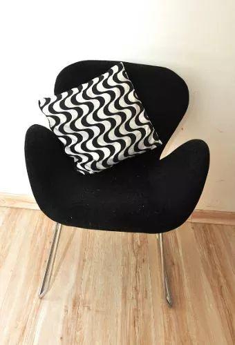 cadeira / poltrona tulipa preta com pés cromados tok stok